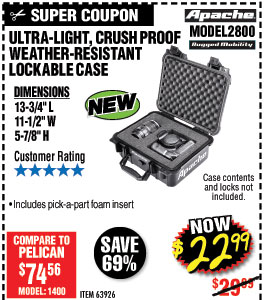 2800 Watertight Protective Case - 13-3/4 In.