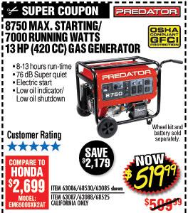 8750 Max Starting/7000 Running Watts, 13 HP  (420cc) Generato