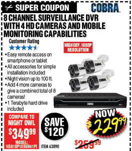 8 Channel Surveillance DVR with 4 HD Cameras and Mobile Monitoring Capabilities
