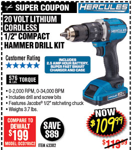 20V Lithium Cordless 1/2 In. Compact Hammer Drill/Driver Kit