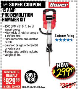 15 Amp 35 lb. Pro Demolition Hammer Kit