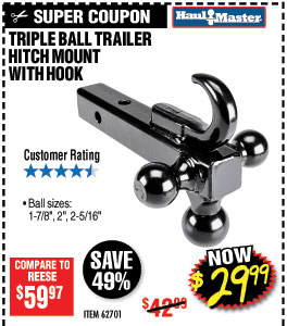 Triple Ball Trailer Hitch Mount with Hook