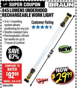845 Lumen Underhood  Rechargeable Work Light