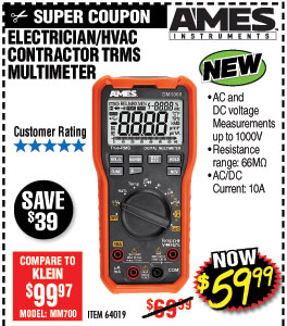 Electrician's HVAC Contractor TRMS Multimeter