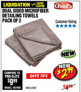 Dual Sided Microfiber Detailing Towels  2 Pk.