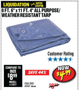 8 ft. 6 in. x 11 ft. 4 in. Blue All Purpose/Weather Resistant Tarp
