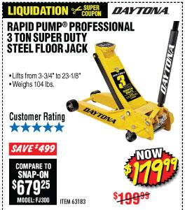 3 Ton Daytona™ Professional Steel Floor Jack - Super Duty