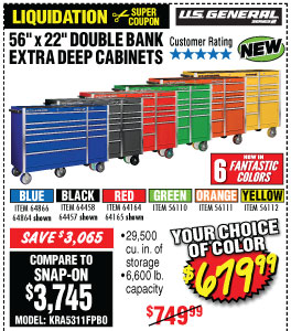 56 in. Double Bank Roller Cabinet