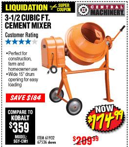 3-1/2 Cubic Ft. Cement Mixer