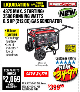 4375 Max Starting/3500 Running Watts, 6.5 HP  (212cc) Generator CARB  with GFCI Outlet Protection