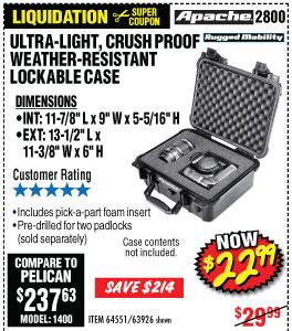 2800 Weatherproof Protective Case - 13-3/4 In.