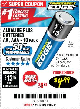 AA Alkaline Batteries, 18 Pk.