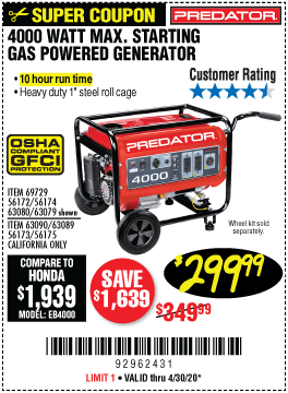 4000 Watt Max Starting Gas Powered Generator