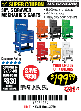 30 in. 5 Drawer Mechanic's Cart