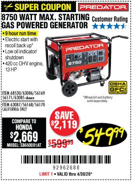 8750 Watt Max Starting Gas Powered Generator - EPA III