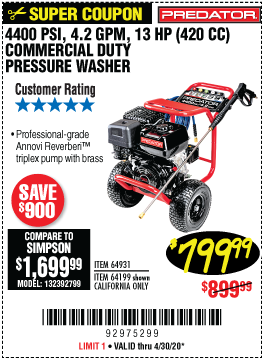 4400 PSI, 4.2 GPM, 13 HP (420cc) Commercial Duty Pressure Washer