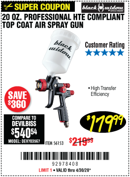 20 oz.  Professional HTE Compliant Gravity Feed Air Spray Gun