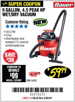 9 Gallon  4.5 Peak Horsepower Wet/Dry Vacuum