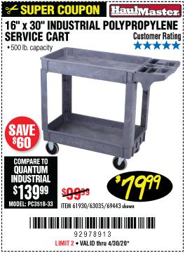16 In. x 30 In.  Industrial Polypropylene Service Cart