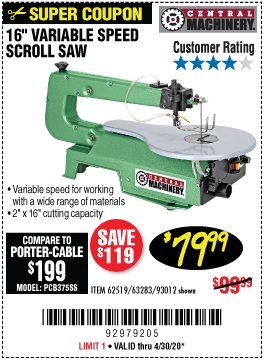 16 in. Variable Speed Scroll Saw