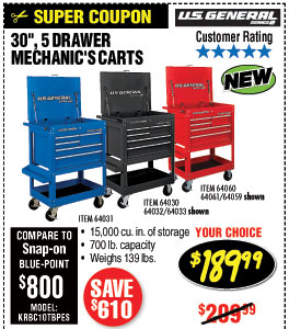 Savings coupons at harbor freight tools 30 in 5 drawer mechanics cart shop harbor freight greentooth Choice Image