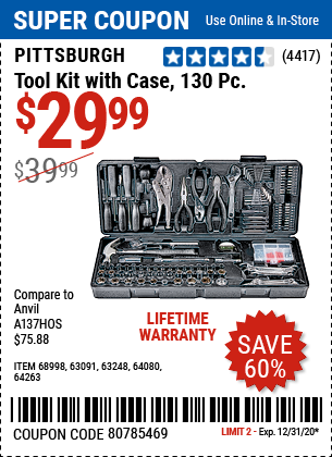 Tool Kit With Case, 130 Pc