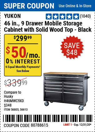 46 In. 9-Drawer Mobile Storage Cabinet With Solid Wood Top, Black