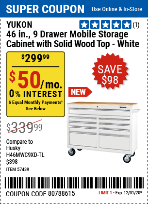 46 In. 9-Drawer Mobile Storage Cabinet With Solid Wood Top, White