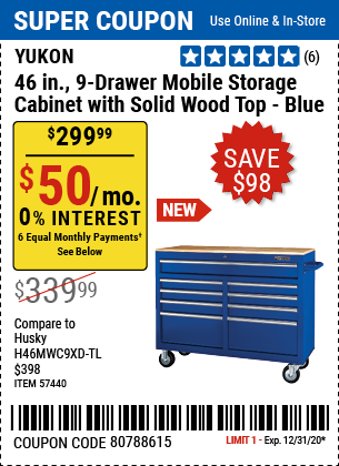 46 In. 9-Drawer Mobile Storage Cabinet With Solid Wood Top, Blue