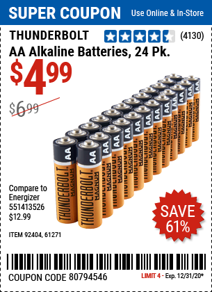 AA Alkaline Batteries, 24 Pk