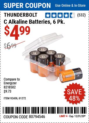 C Alkaline Batteries, 6 Pk.
