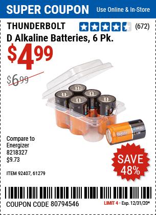 D Alkaline Batteries, 6 Pk.