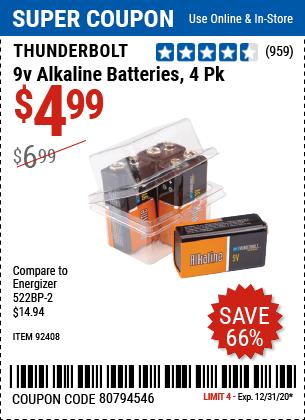 9V Alkaline Batteries, 4 Pk.