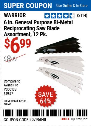 6 In. General Purpose Bi-Metal Reciprocating Saw Blade Assortment, 12 Pk.