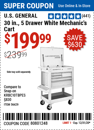 30 In. 5 Drawer Mechanic's Cart, White