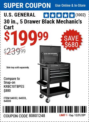 30 In. 5 Drawer Mechanic's Cart, Black
