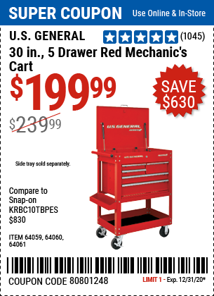 30 In. 5 Drawer Mechanic's Cart, Red