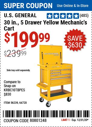 30 In. 5 Drawer Mechanic's Cart, Yellow