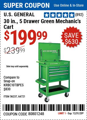 30 In. 5 Drawer Mechanic's Cart, Green