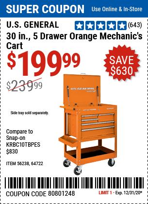 30 In. 5 Drawer Mechanic's Cart, Orange