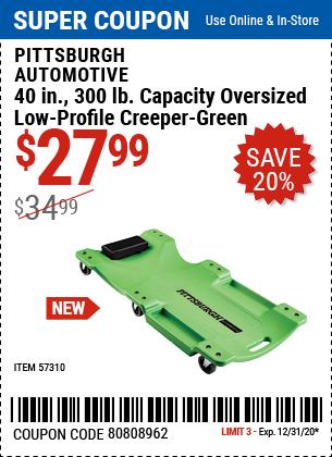 40 In. 300 Lb. Capacity Low-Profile Creeper, Green