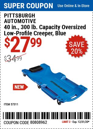 40 In. 300 Lb. Capacity Low-Profile Creeper, Blue