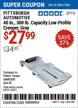 40 In. 300 Lb. Capacity Low-Profile Creeper, Gray