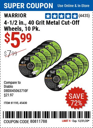 4-1/2 In. 40 Grit Metal Cut-Off Wheel 10 Pk