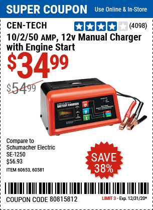 10/2/50A 12v Manual Charger With Engine Start