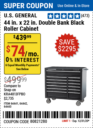 44 In. X 22 In. Double Bank Roller Cabinet, Black