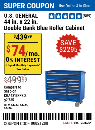 44 In. X 22 In. Double Bank Roller Cabinet, Blue