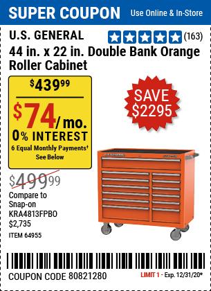44 In. X 22 In. Double Bank Roller Cabinet, Orange