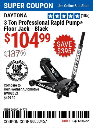 3 Ton Professional Rapid Pump® Floor Jack, Black