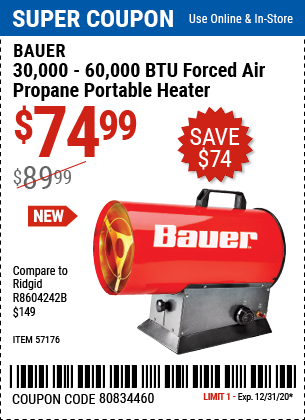 30,000 - 60,000 BTU Forced Air Propane Portable Heater